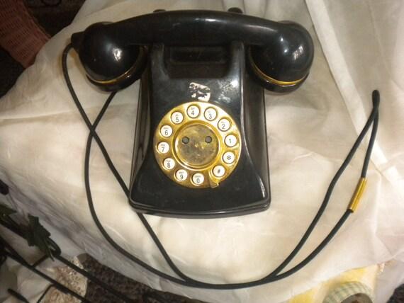 Vintage ,Telephone,antique,black,home decor,electronics,retro,primitive,country