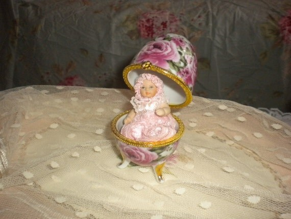 Charming Chintz egg, with Darling small Porcelain Doll,Shabby chic,French country,Cottage,Cottage chic