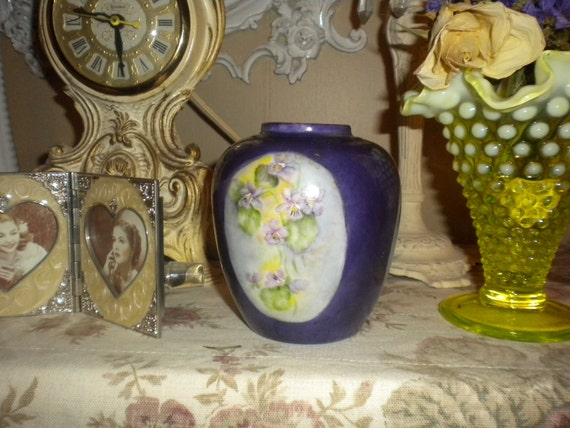 SALE....Lovely Deep Purple and Flowers Bud Vase,French Country,Cottage,Victorian