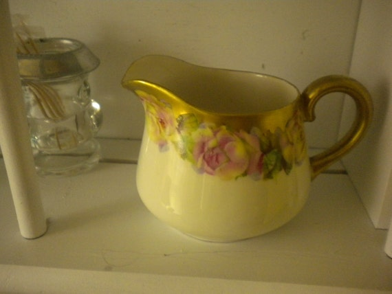 RESERVED....Vintage Cabbage Rose Creamer,French Decor,Serving Piece,Cottage