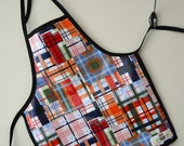 Wipeable Toddler Apron - plaid, modern, art, create, fun, boy, girl, neutral