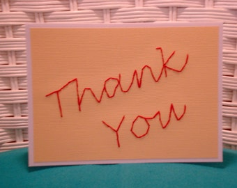 Handmade Embroidered Thank You Card