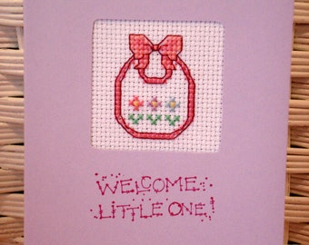 Handmade Baby Cross Stitch Card Bib for Baby Girl