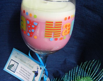 Cake & Buttercream Frosting Scented Soy Candle in Happy Birthday Wine Glass Pink and White