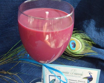 tuscan wine scented soy candle in wine glass