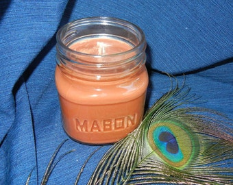 Leather Jacket Scented Soy Candle 8oz Mason Jar Brown