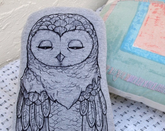 Woodland Owl Pillow - Hand Drawn Ink Art - Black White Gray - Whimsical Enchanted Forest - Recycled Baby Children