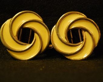 Enamel Buckle, Vintage Metal Knot cream and gold tone