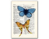 Blue and Yellow, vintage illustration printed on Upcycled English Dictionary page. Buy 3 and get 1 FREE