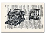 Typewriter Black and White, vintage illustration printed on Upcycled English Dictionary page. Buy 3 and get 1 FREE