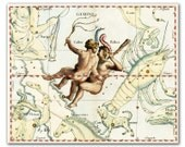 Zodiac Sign Gemini Constellation, vintage celestial map printed on parchment paper. Buy 3 and get 1 FREE