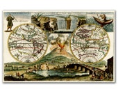 World Map from 1690, Including Mt Vesuvius Erupting and Niagara Falls, Vintage World Map printed on parchment paper