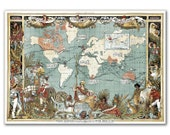British Empire in 1886, vintage world map printed on parchment paper