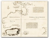 Terra Australis - Vintage Map of Australia from 1744,  printed on parchment paper  8x11 inch - 21x30 cm