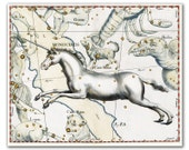 Unicorn Monocerus Constellation, vintage celestial map printed on parchment paper, Nursery art, Nursery room decor. Buy 3 and get 1 FREE