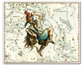 Perseus Constellation, vintage celestial map printed on parchment paper. Buy 3 and get 1 FREE