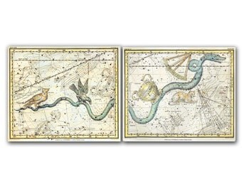 Hydra Crater Sextans Felis Noctua Corvus Constellations, set of two vintage celestial maps printed on parchment paper. Buy 3 and get 1 FREE