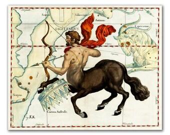 Vintage Canvas Print, Celestial Sign Sagittarius Constellation, vintage celestial map, Nursery Room Decor, Gift for Him, Giclee Print