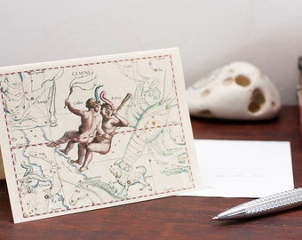 Zodiac Sign Gemini Constellation Greeting Card