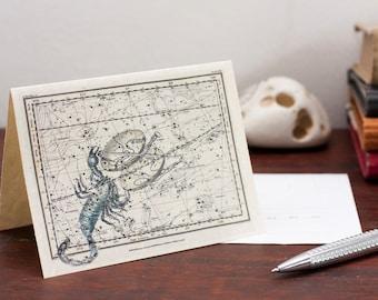 Zodiac Sign Libra Scorpio Constellation Greetin Card