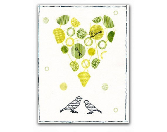 Green Love Birds, Vintage Reproduction 8x10.5 inch (21x26 cm), Nursery Room Decor