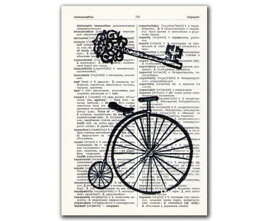 Bicycle Skelleton Key Black and White, vintage illustration printed on Upcycled English Dictionary page. Buy 3 and get 1 FREE
