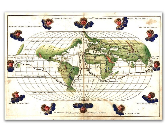 Battista Agnese Tabula from 1544, Vintage World Map printed on parchment paper