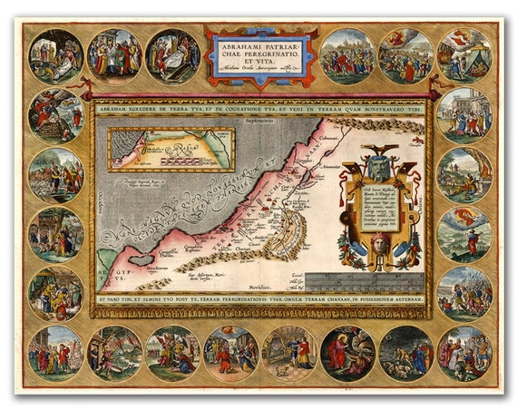 Map of Chanaan Holy Land from 1696 with Bible scenes, Vintage map printed on parchment paper