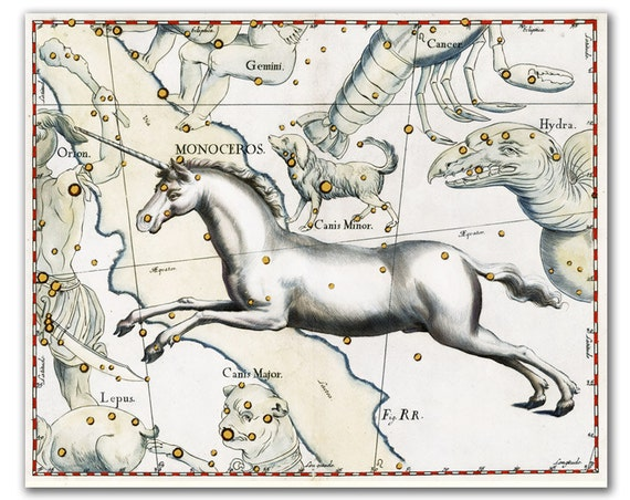Unicorn Monocerus Constellation, vintage celestial map printed on parchment paper, Nursery art, Nursery room decor. Buy 3 and get 1 FREE