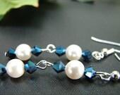 Royal Blue and White Pearl Earrings, Bridal Earrings, Dangle Blue Earrings, White Pearls, Blue Crystal,  Bridesmaid earrings, Beautiful