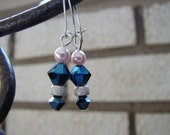 Free Shipping: Star Dust Over Navy Blue Crystal Earrings
