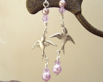 Pearl and flying swallows, Silver flying bird,Earrings,Free Shipping: Lavender Flying Swallow Earrings