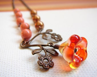 Vintage Orange Copper Flower Necklace, Branch Necklace, copper and Orange pearl necklace : Free Shipping