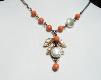 Antiqued Leaf on  Orange Pearls with White Glass Coin and Pearl Charms- simple, modern, friend gift, Vintage Leaf Necklace :Free Shipping