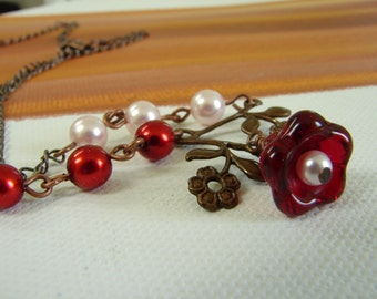 Pink Pearl and Red Flower Necklace: Free Shipping