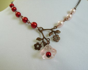 Pink Flower Necklace, Red Pearl Necklace, Vintage Necklace, Red Gift, Cinnamon Red Pearls and Pink Flower Necklace Cute gift: Free Shipping