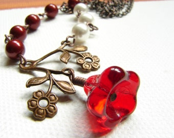 Free Shipping: Vintage Bordeaux and Red Flower Necklace