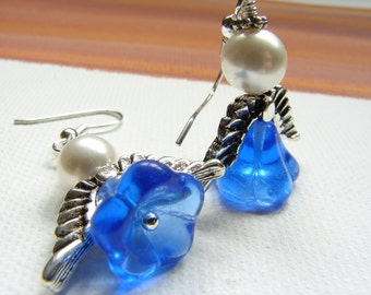 Blue Flower Angel Wing Earrings, angel earrings, silver angel wings, pearl earrings, saphire blue glass flower earrings