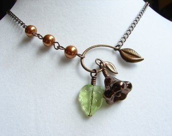 Bronze Copper Winding Leaf Drop Necklace: Free Shipping