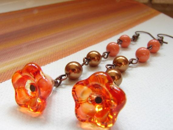 Orange Glass Flower Earrings, Swarovski pearls dangle flower earrings, Dangle Orange and Copper Pearl Earrings, Free Shipping,  Vintage