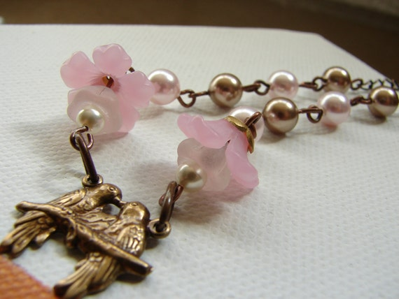 Loving Birds on a Branch Necklace, Dainty branch and birds, Birds necklace, Pink flower glass, Bronze Swarovski pearls necklace