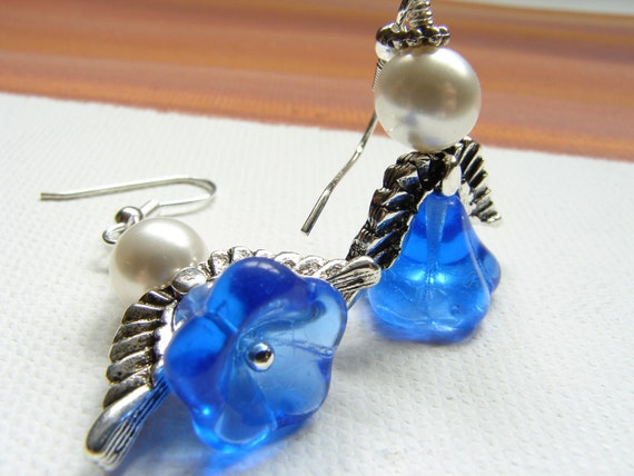 Blue Flower Angel Wing Earrings, angel earrings, silver angel wings, pearl earrings, saphire blue glass flower earrings