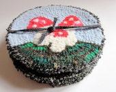 Hand hooked round Fairy Tale Mushroom Coaster- Set of 4