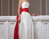 Fashion wedding dress made of mikado  with red  taffeta tail