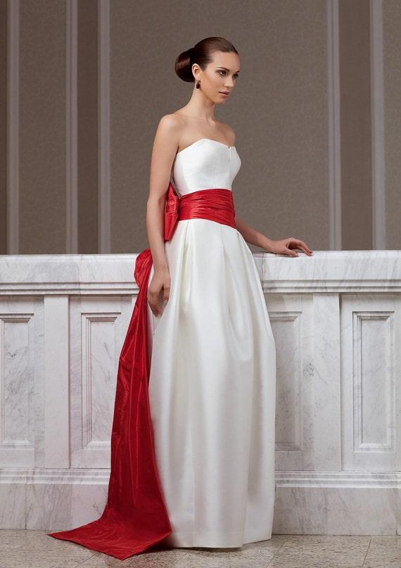 Fashion wedding dress made of mikado  with red  taffeta tail
