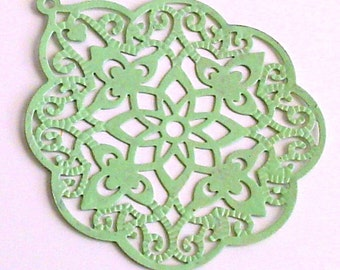 SALE - 6pc- Hand painted soft apple green color Filigree stamping, big bohemian drop, leaf connector, pendant, link and more...