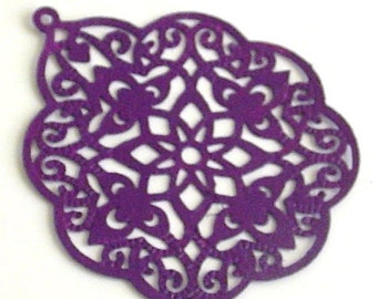 SALE - 6pc- Plum color - Hand painted Filigree stamping, big bohemian drop, leaf connector, pendant, link and more...