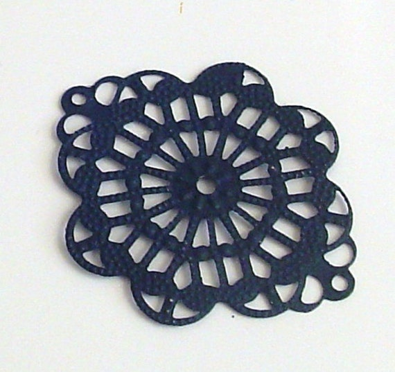 SALE - 4pc- Black color - Hand painted  Filigree, Oval drop,  connector, pendant, link and more...