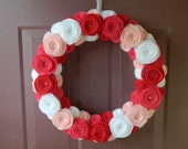 Valentine's Day Wreath - Pink, White and Red Wreaths - With Pearls - 18 Inch