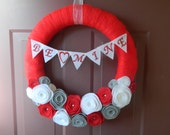 Valentine's Day Wreath - Bright Red Yarn Wrapped Wreath with Red, White and Gray Felt Flowers, Pearls, and BE MINE Bunting